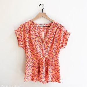 Monteau • gorgeous Floral Wrap front blouse